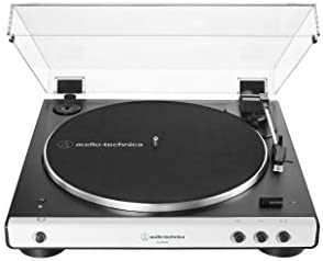 Audio-Technica AT-LP60XBT-WH Fully Automatic Bluetooth Belt-Drive Stereo Turntable, White Black, Hi-Fidelity, Plays 33 -1 3 and 45 RPM Records, Dust Cover, Anti-Resonance, Die-cast Aluminum Platter