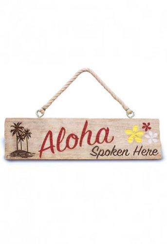 Cheap  Aloha Spoken Here Hanging Sign