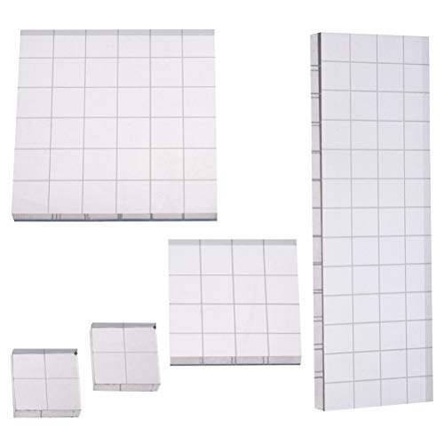 with Grid Lines, Cooyeah Acrylic Clear Stamping Blocks Set for Scrapbooking Crafts Making, 4 Sizes ()
