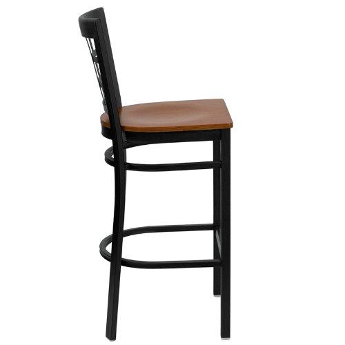 Taburete HERCULES Black Window Back Metal Restaurant Bar Stool Cherry Wood Seat