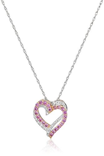 Rose-Gold-Plated-Sterling-Silver-Created-Pink-Sapphire-and-Diamond-Double-Heart-Pendant-Necklace-114-cttw-I-J-Color-I2-I3-Clarity-18