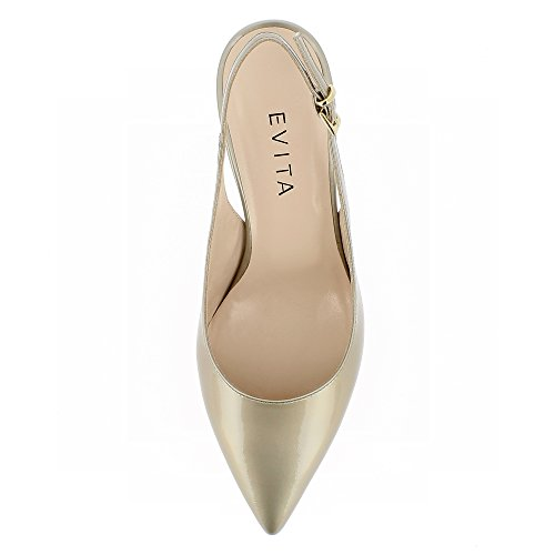 Verni Cuir Sling Shoes Giulia Evita Couleur Or Escarpins w8qzXyx6f
