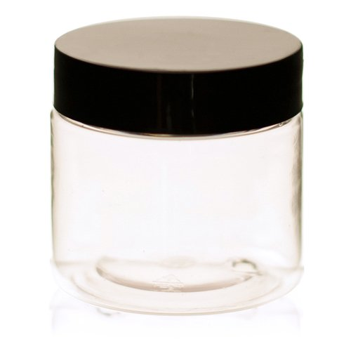 2 oz Clear Straight sided Plastic Jar with Black smooth Lid - Pack of 12 (Vials With Lids Plastic)