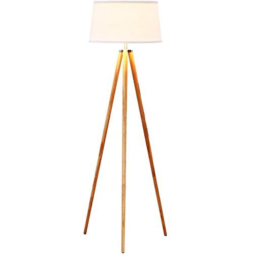 Brightech Emma LED Tripod Floor Lamp – Mid Century Modern Standing Light for Contemporary Living Rooms - Tall Survey Lamp with Wood Legs for Bedroom, Office - White Shade