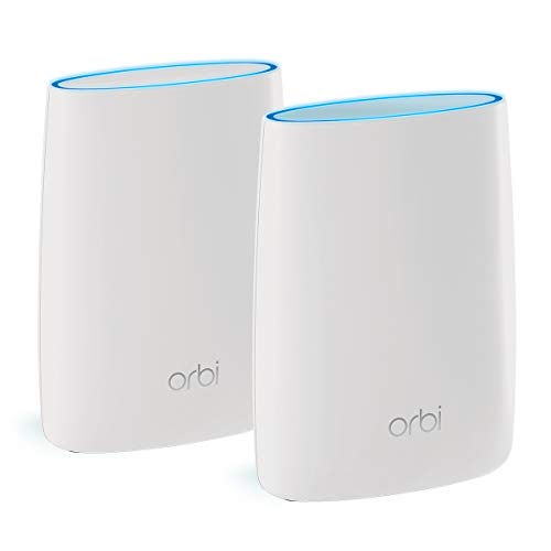 NETGEAR Orbi Tri-band Whole Home Mesh WiFi System with 3Gbps Speed (RBK50) - Router & Extender replacement covers up to 5,000 sq. ft., 2-pack includes 1 router & 1 satellite (Best Way To Extend Wifi)