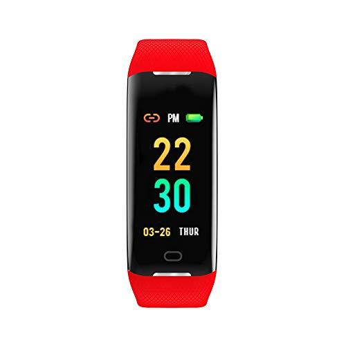 (Kariwell Z21 Smart Watch - Color Screen Blood Pressure/Heart Rate Monitor Smart Bracelet Watch Pedometer/Mileage/Calories/Stopwatch Kari-79 (Red))