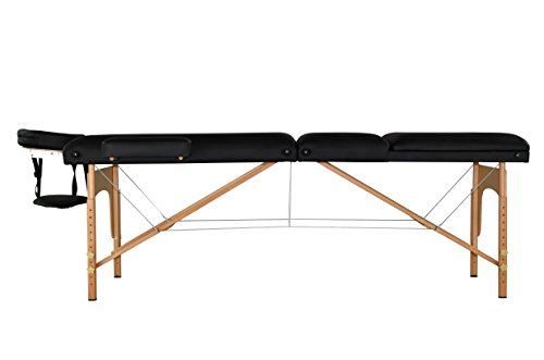 "BestMassage Black 77"" Long 30"" Wide 4"" Pad Reiki Portable Massage Table With Carry Case"