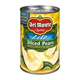 Del Monte Lite Sliced Pears (Bartlett) in Extra Light Syrup 15oz Can (Pack of 6)