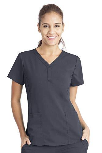 Purple Label by Healing Hands Scrubs Women's Jane V-neck 2 Pocket Top, XX-Large - Pewter