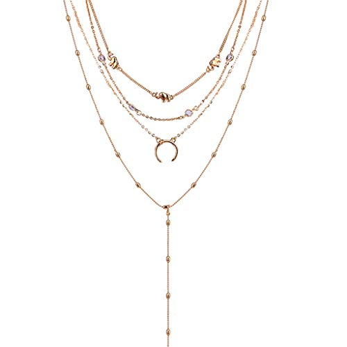 Coedfa New Fashion Necklace, Boho Choker Necklaces & Pendants Vintage Elephant Moon Maxi Neckaces for Women (Gold)