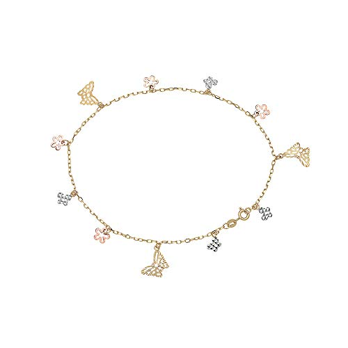 Dangling Flower Charm - Pori Jewelers 14K Solid Gold Tricolor Dangling Charm Anklets - 10