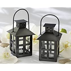 Luminous Black Mini-Lantern Tea Light Holder - Set of 25