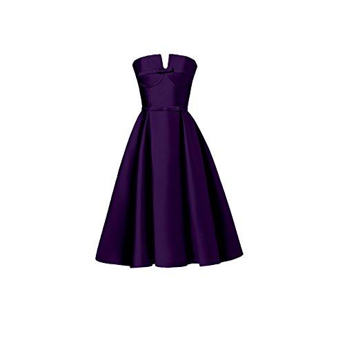 Amore Femmes Mariée Une Robe Bustier De Retour À La Maison De Ligne Robe De Bal De Demoiselle D'honneur De Satin Violet
