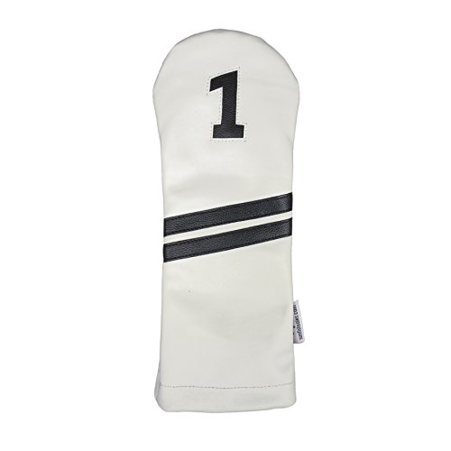 Sunfish Leather Driver Headcover White and Black (Driver Headcover Sunfish)