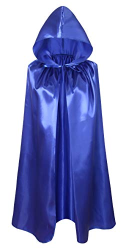 Crizcape Kids Costumes Cloak DIY Cape with Hood for Halloween Christmas Ages 2 to 18 (Blue, 100cm/ages8-18) -