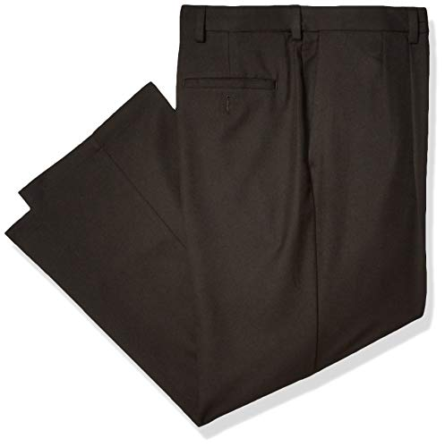 Haggar Men's Cool 18 Pro Classic Fit Pleat Front Expandable Waist Pant, Black, 44Wx30L (Cool 18 Haggar Classic Fit)