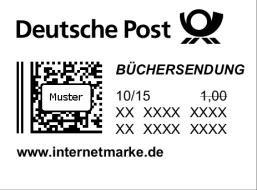 50 X Briefmarke Internetmarke 1 Büchersendung Groß Bis 500 G