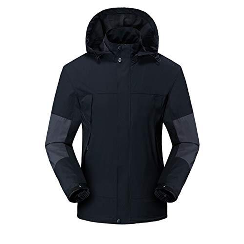 Hooded Jacket for Men Long Sleeve Splice Water Resistant Windbreaker Outdoor Sportswear (XXXL, Black)