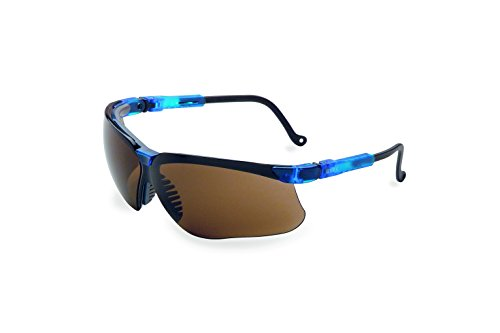 Uvex by Honeywell Genesis Safety Glasses, Vapor Blue Frame with Espresso Lens & Uvextreme Anti-Fog Coating (S3241X) ()