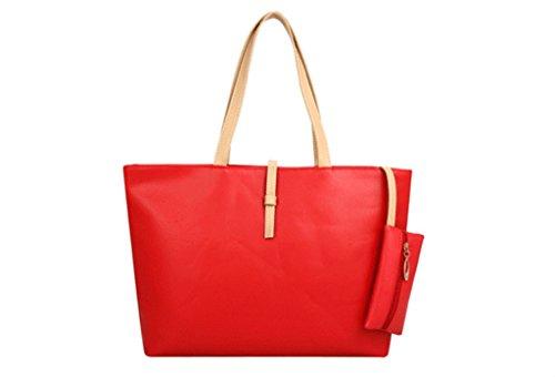 Buckle Belt Shopping Handbags Leather Fashion PU Women Bag Red Orange Commuter Shoulder Drasawee Large Colorful 4qRPtPI