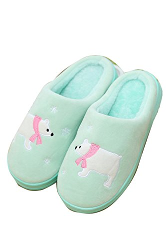 Confortable Green Cartoon Doublure Pantoufles en amp; Indoor Outdoor Hiver Zinmuwa qgYAzxO
