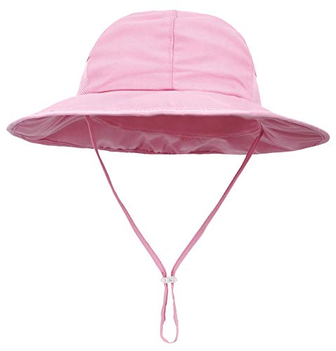 SimpliKids Girls Kids Sun Hat with UV Protection Wide Brim Bucket Hat Pink]()