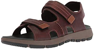 Clarks Men's Brixby Shore Sandal, Dark Brown Leather, 8 M US