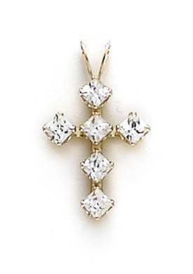 14 Carats Pendentif croix CZ JewelryWeb