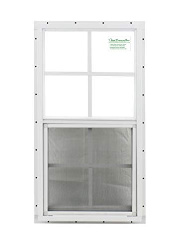 Shed Window 18 X 27 White J-channel Mount, SAFETY/TEMPERED GLASS Storage Shed, Playhouse