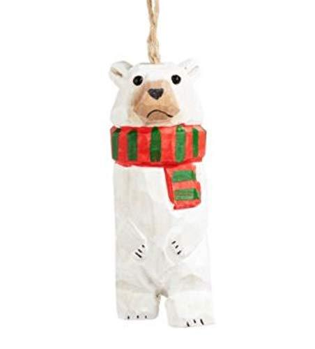 Winter Chalet Wooden Polar Bear Ornament