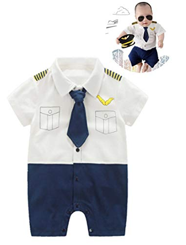 Baby Pilot Boys Halloween Uniform Cosplay Romper Costume Outfit (6 to 9 Months, Short Sleeves) -