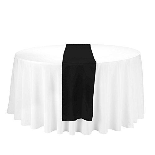 LinenTablecloth 14 x 108-Inch Satin Table Runner Black (Runner Black Table)