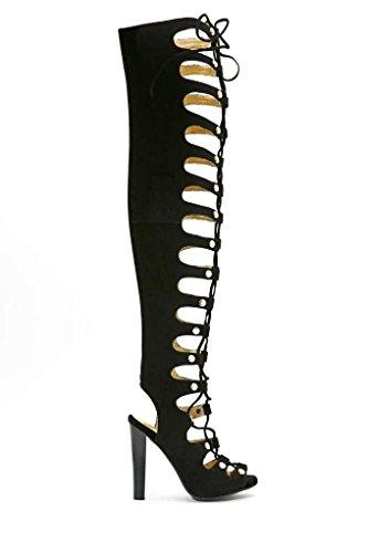 Jefffrey Campbell Enable-hi Dames Suede Gladiator Boots Zwart