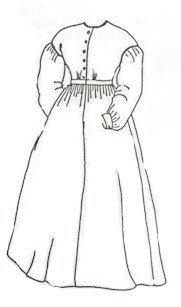 Victorian Dresses- Patterns, Costumes, Custom Dresses 1850s-1860 Ladies Work Dress Pattern (Size Medium 12-16) $11.25 AT vintagedancer.com