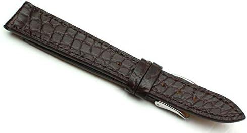 18mm Echt Alligator Klassik hangemacht in Deutschland Uhrenarmband Dunkel braun