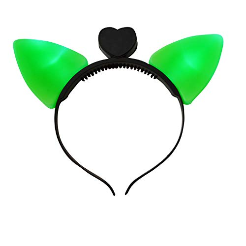 LED Light Up Cat Kitty Ears Headband (Green) (Lanyard Strap Flashing Neck)