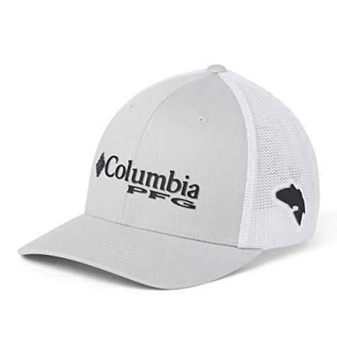 Columbia Unisex PFG Mesh Ball Cap, Cool Grey, Black, Red Fish, Small/Medium