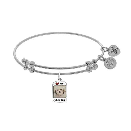 Tiffany Engraved Round Tag - JewelryWeb Brass with White Finish 1.5mm Shiny Round Tube Expandable Dog Tag-Shih Tzu Bangle Bracelet