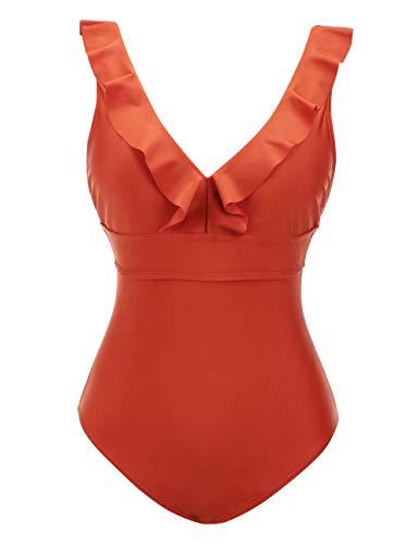 FeelinGirl Women One Piece Vintage Flounce Ruffle Monokinis Bathing Suits Orange
