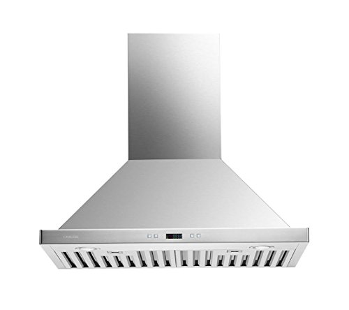 CAVALIERE SV218B2-30-LED Wall Mounted Stainless Steel Kitchen Range Hood, 900 (Stainless Chimney Style Wall Hood)