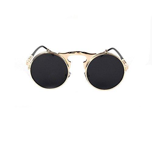 Steampunk retro flip sunglasses influx male and female models metal sunglasses (C4 gold frame gray - Male Model Versace