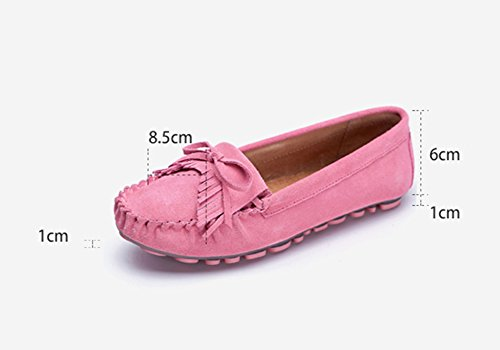 Sandals ZCJB Peas Shoes Woman Spring and Summer Tassel Shallow Mouth Flat Shoes Single Shoes Lounger Casual Shoes Pregnant Shoes Pink SVCHEoLi