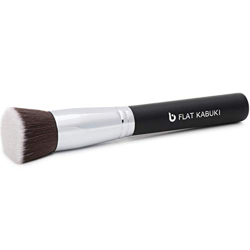 Liquid Foundation Kabuki Makeup Brush - Flat Top Expert, Stippling, Blending, Buffing, Setting Make Up, Cream Powder Mineral Cosmetics, Full Coverage Face Buffer, Soft Dense, Synthetic