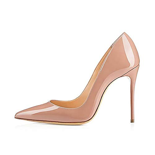 Elisabet Tang High Heels, Women Pumps Shoes 3.94 inch/10cm Pointed Toe Stiletto Sexy Prom Club Heels NU 10 Nude