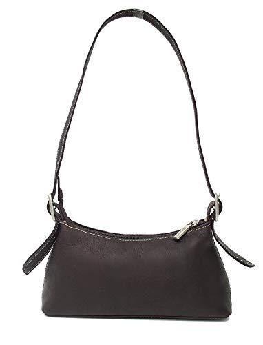 Piel Leather Small Shoulder Bag in Black