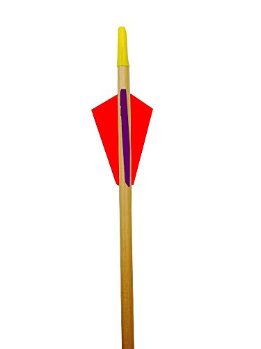 Rose City Archery Port Orford Cedar Arrow for 30-Pound Bow or Less Than 5/16-Inch Diameter/24 1/2-Inch Length Clear Lacquer Shaft (12-Pack), 2.25-Inch Length Fletching, Purple Cock/Red Hens