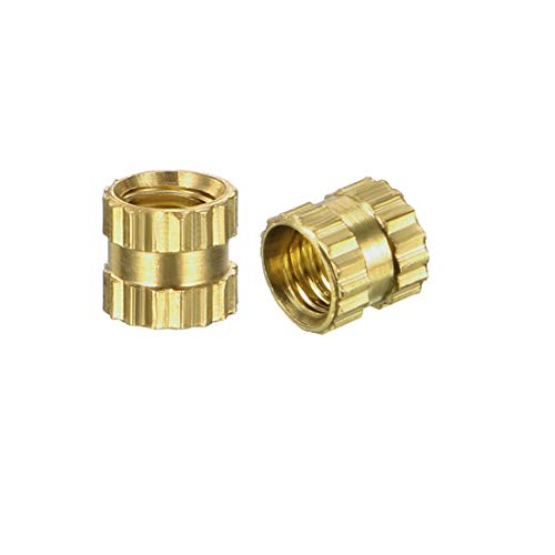 uxcell Knurled Threaded Insert, M3 x 4mm L x 4mm OD Female Thread Brass Embedment Nuts, Pack of -