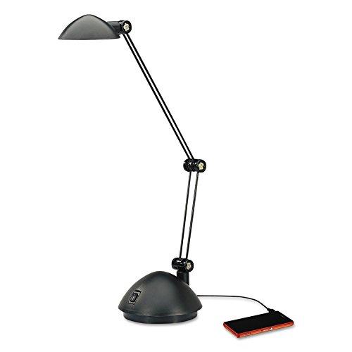 (Alera ALELED912B Twin-Arm Task LED Lamp with USB Port, 18 1/2