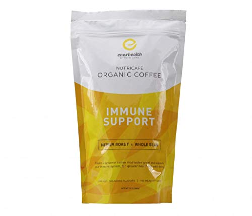 Enerhealth NutriCafe Premium Gourmet Organic Whole Bean Roasted Mushroom Coffee, Choose Ganoderma (Reishi), Cordyceps, Turkey Tail, Maitake, and Shitake Extracts (Immune Supporters)