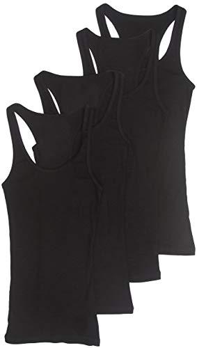4 Pack Zenana Women's Plus Racerback Ribbed Cotton Tank Tops 2X Black, Black, Black, Black